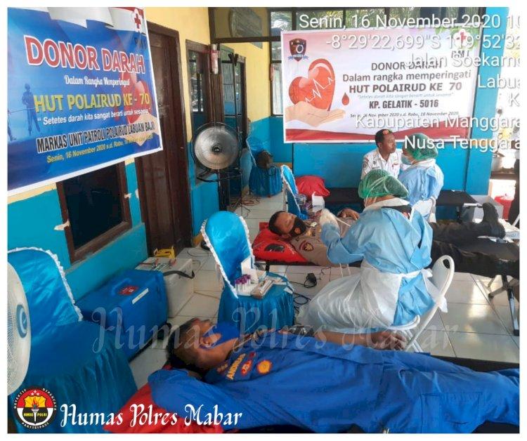 Menyambut HUT Korpolairud Ke 70, KP. Gelatik 5016 Korpolairud Baharkam Polri Melaksanakan Kegiatan Donor Darah di Labuan Bajo